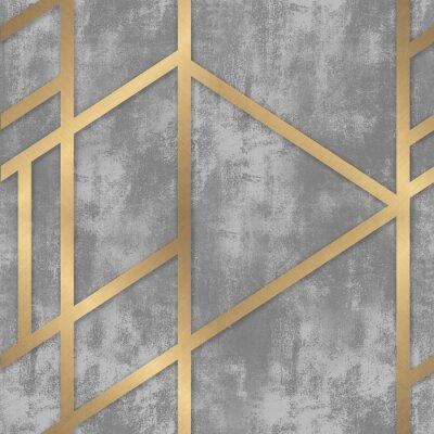 Fototapet pattern gray concrete with golden geometric lines
