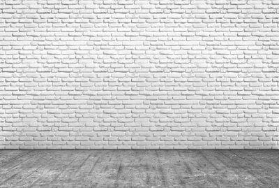 Fototapet pavimento i Cemento e muro i Mattoni bianchi