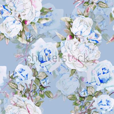 Fototapet Peonies och rosor vattenfärg illustration mönster