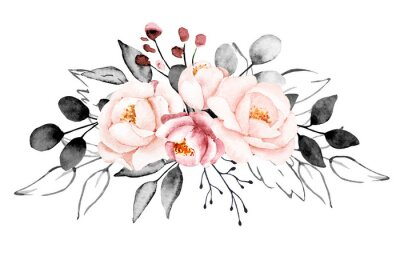 Fototapet Peonies, watercolor pink and gray flowers. Floral summer vintage illustration isolated on white background. Hand drawing. Perfectly for wedding, birthday, party, other greetings design.