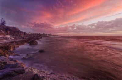 Fototapet PERTH stranden vaggar solnedgång