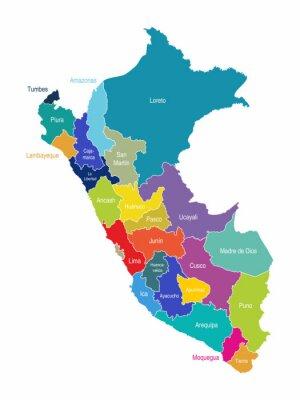 Fototapet Peru kartregioner Vector