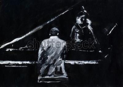 Fototapet Pianist och kontrabassist. Jazzbandkonsert. Pianospelare och kontrabassspelare uppträder på scenen. Snygg svartvit abstrakt målning. Bakifrån och sidovy. Musiker med instrument.