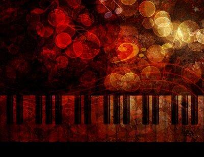 Fototapet Piano tangentbord Grunge bakgrund Illustration