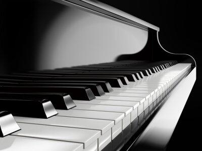 Fototapet pianotangenter på svart piano
