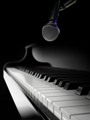 Fototapet pianotangenter på svart piano med mikrofon