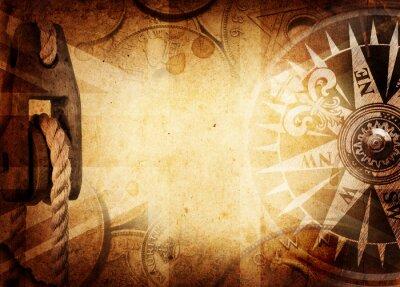 Fototapet Pirat och nautiska tema grunge bakgrund