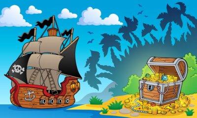 Fototapet Pirat-tema med skattkista 1
