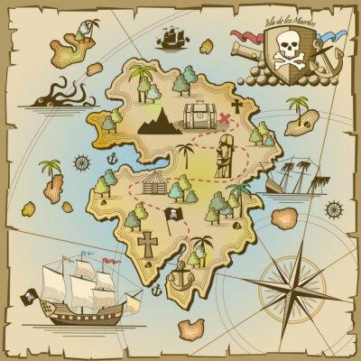 Fototapet Piratskatt ö vektor karta