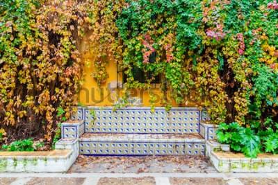 Fototapet pittoresk bild av en bänk med traditionella plattor framför en klädda vägg
