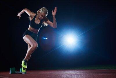Fototapet pixelated utformning av kvinna sprinter lämnar startgroparna