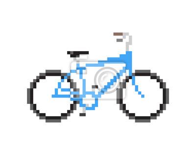Fototapet Pixeled blå cykel - Isolerade vektorillustration