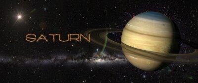 Fototapet Planeten Saturnus i yttre rymden.