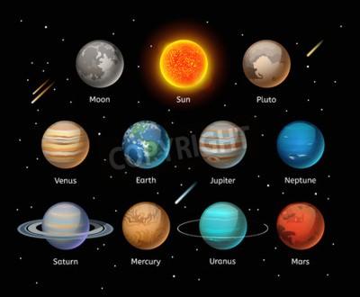 Fototapet Planets färgrik vektor uppsättning på mörk bakgrund, Planet vektor uppsättning. Planet ikoner 3d infographic element. Planets samling silhuett. Planets illustration vektor 3d ikoner