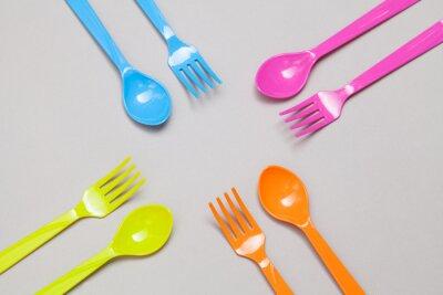 Fototapet plastsked och gaffel, delning