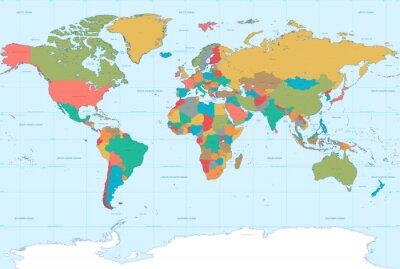 Fototapet Platta färger världskarta