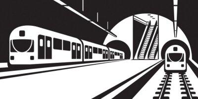 Fototapet Plattform tunnelbanestation med tåg - vektor