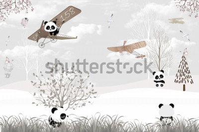 Fototapet Playing cute pandas kids room wallpaper design
