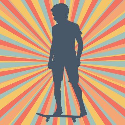 Fototapet Pojke skateboarding vektor bakgrund