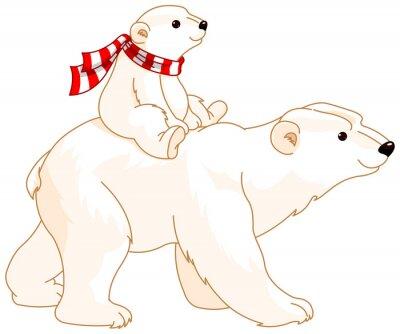 Fototapet Polar Bear mamma och baby
