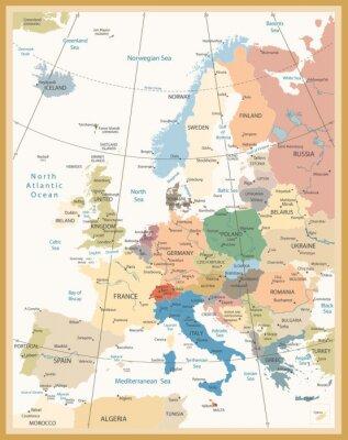 Fototapet Political Map of Europe retro färger
