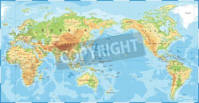 Fototapet Politisk fysisk topografisk färgad världskarta pacific centrerad vektorikonen.