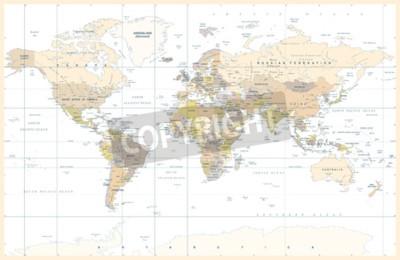 Fototapet Politisk fysisk topografisk färgad världskarta vektor illustration