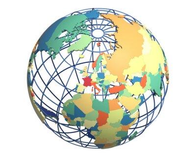 Fototapet Politisk Globe, centrerad på Europa