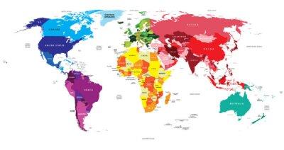 Fototapet Politisk karta av världen