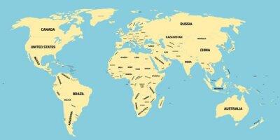Fototapet Politisk karta över världen
