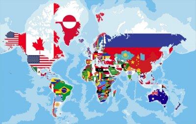 Fototapet Politisk världskarta med landet sjunker.