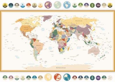 Fototapet Politisk världskarta med platta ikoner och globes.Vintage färger.