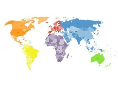Fototapet Politisk världskarta på vit bakgrund.