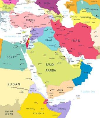 Fototapet Politiska kartan i Mellanöstern och Asien Isolerad White