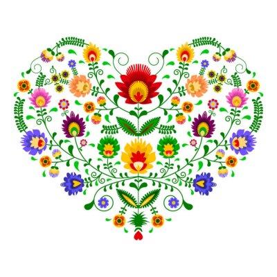 Fototapet Polski folklor - wzór w kształcie serca