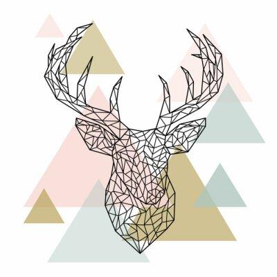 Fototapet Polygonalt huvud hjort porträtt. Skandinavisk stil. Vektor illustration.