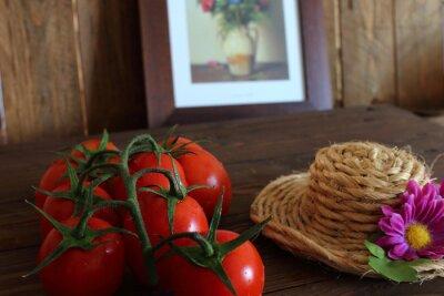 Fototapet Pomodoro rosso en Grappolo varietà Piccadilly