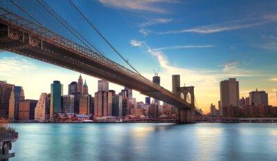 Fototapet Pont de Brooklyn vers Manhattan, New York.