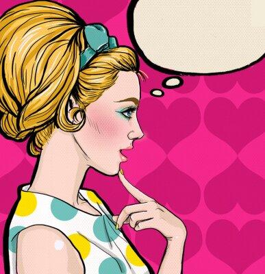 Fototapet Pop Art blond flicka i profil med pratbubblan.