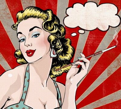 Fototapet Pop Art kvinna med pratbubblan och cigarett.