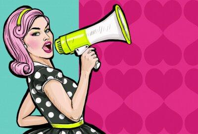 Fototapet Popkonst flicka med megafon. Kvinna med högtalare.