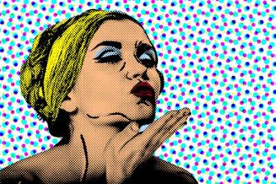 Fototapet Popkonst komiska stil kvinna, retro affisch
