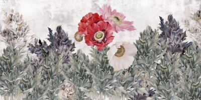 Fototapet Poppies flowers illustration. Poppies painted on the grunge wall. Beautiful design for card, postcard, picture, mural, wallpaper, photo wallpaper.