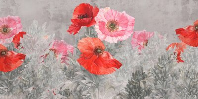 Fototapet Poppies flowers illustration. Poppies painted on the grunge wall. Beautiful design for postcard, picture, mural, wallpaper, photo wallpaper.
