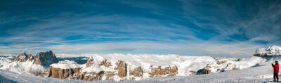 Fototapet Pordoi italienska Dolomiterna panorama landskap