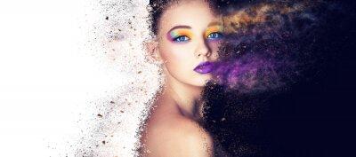 Fototapet porträtt mode modell kvinna kreativ make up, studio foto