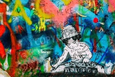 Fototapet Prag, Tjeckien - 10 oktober 2014: Berömd plats i Prag - John Lennon-väggen. Wall är fylld med John Lennon inspirerade graffiti och texter från Beatles-låtar