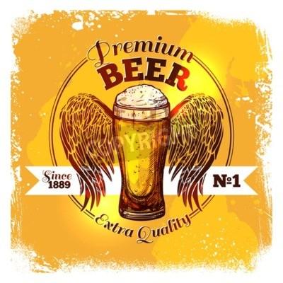 Fototapet Premium kvalitet öl etikett med skiss glas dryck med ornament vektor