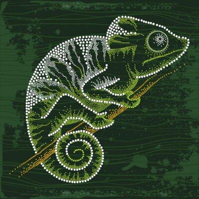 Fototapet Prickade Chameleon sitter på grenen