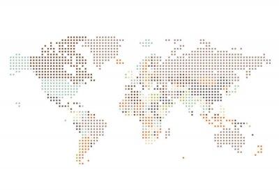Fototapet Prickade världskarta av kvadrater